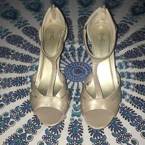 Taupe T Strap Heels